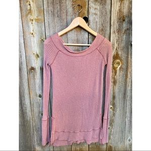 FREE PEOPLE waffle knit long sleeve thermal top XS